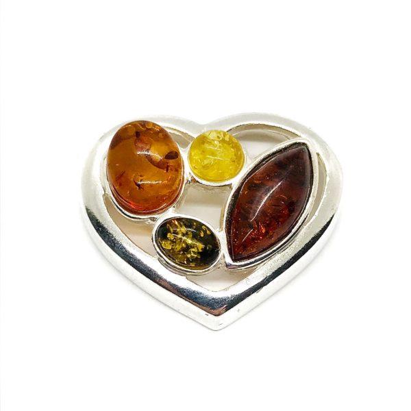 Multi Color Amber .925 Silver Heart Pendant
