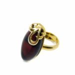 Cherry Amber 14K Gold Plated Silver Adjustable Ring