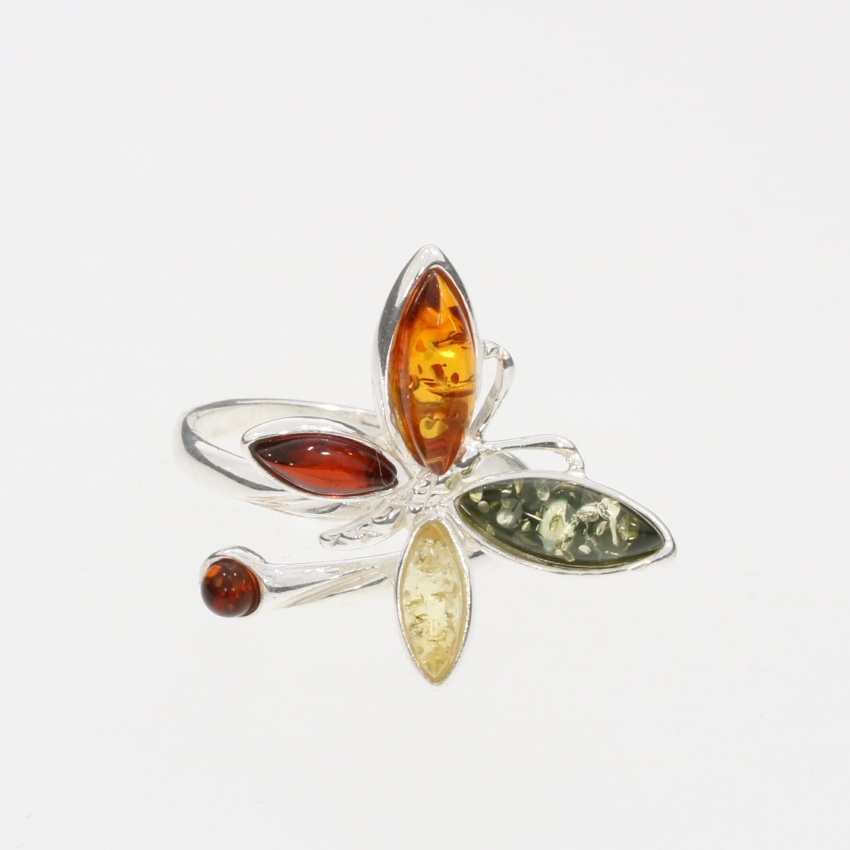 Multi Color Amber .925 Silver Butterfly Adjustable Ring