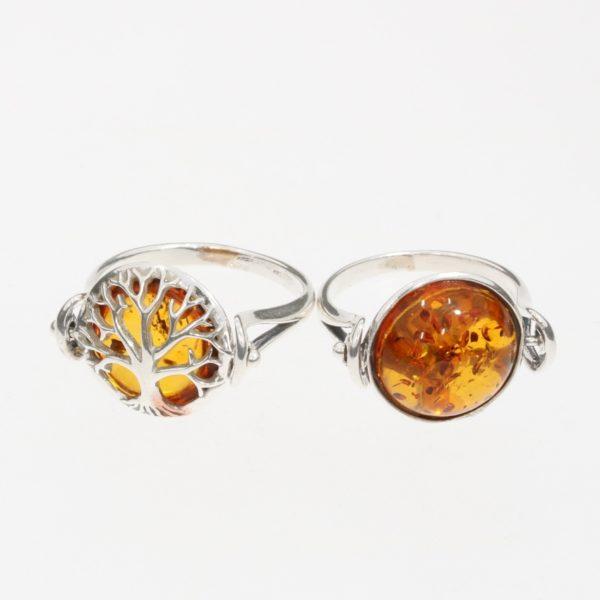 Reversible / Flip Ring Tree of Life Cognac Amber