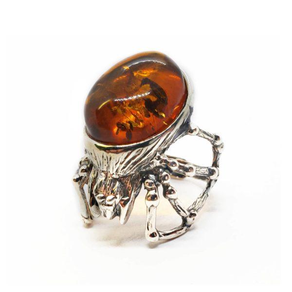 Cognac Amber .925 Silver Adjustable Spider Ring