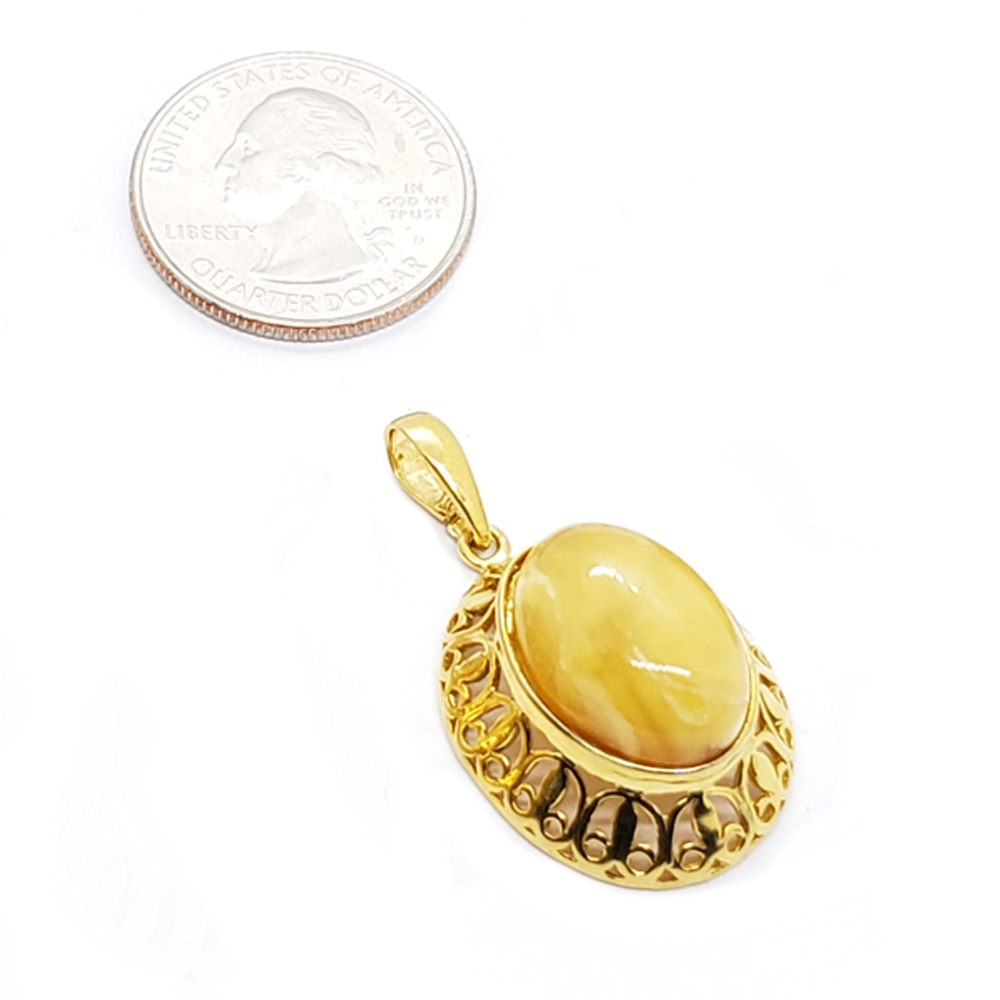 Butterscotch Amber Gold Plated Silver Pendant