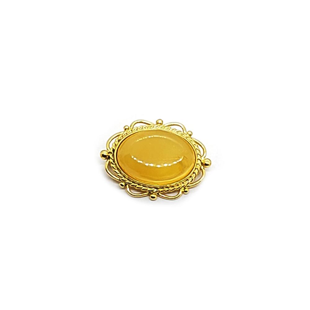 Butterscotch Amber Gold Plated Silver Pin/Brooch