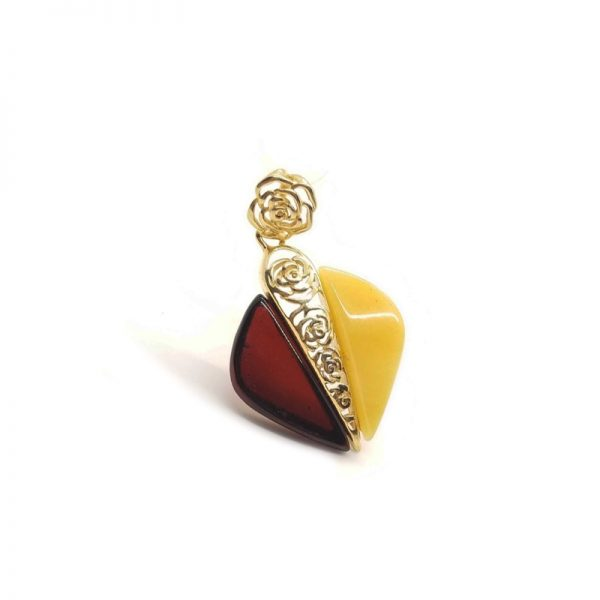 Multi Color Amber Gold Plated Silver Pendant