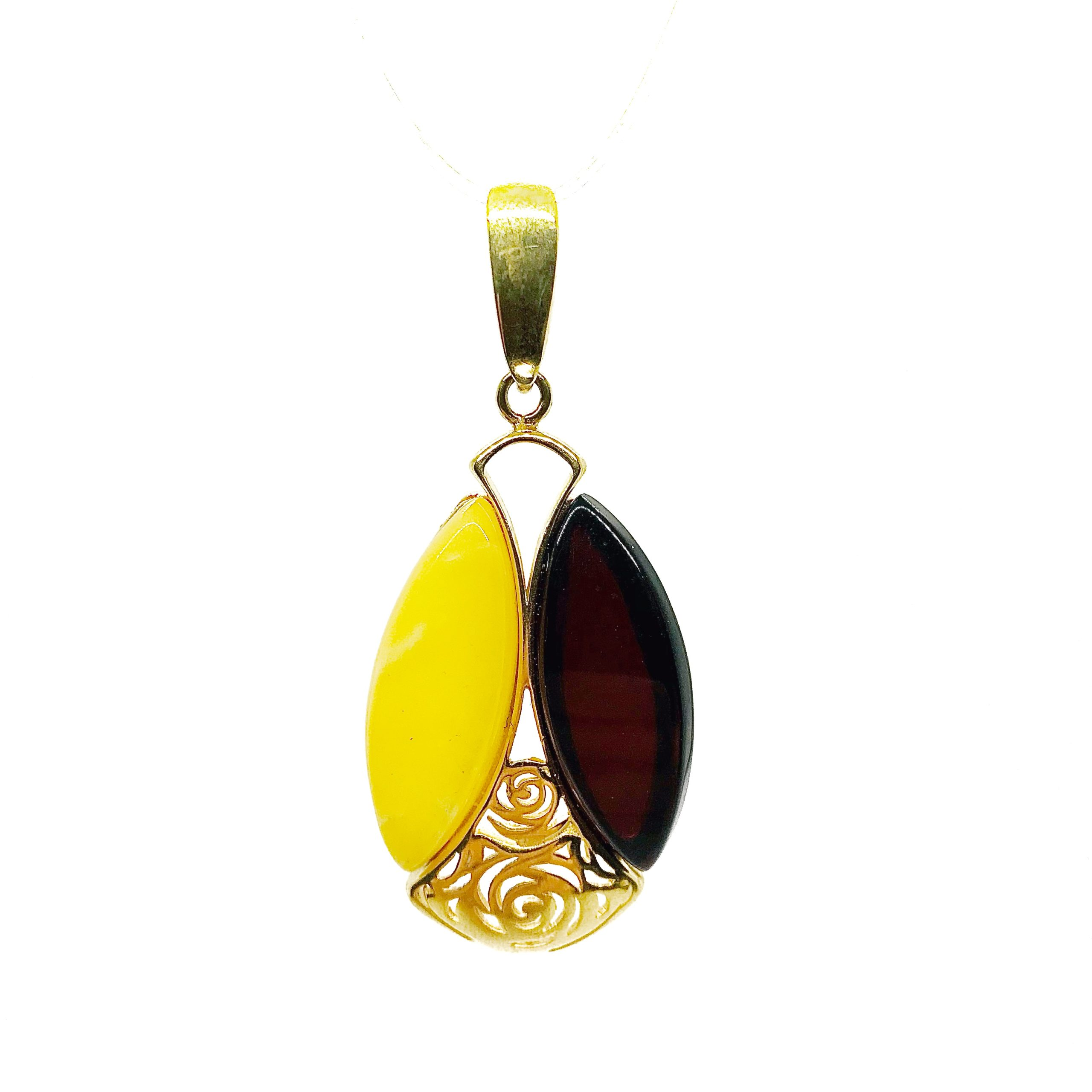 Two Color Amber Gold Plated Silver Pendant