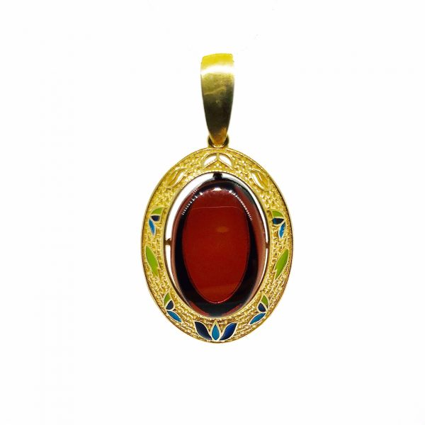 Cherry Amber Gold Plated Silver With Enamel Pendant