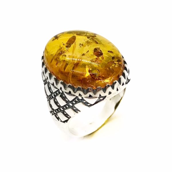 Cognac Amber Sterling Silver Ring For Men