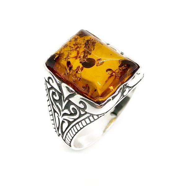 Cognac Amber Sterling Silver Men's Ring