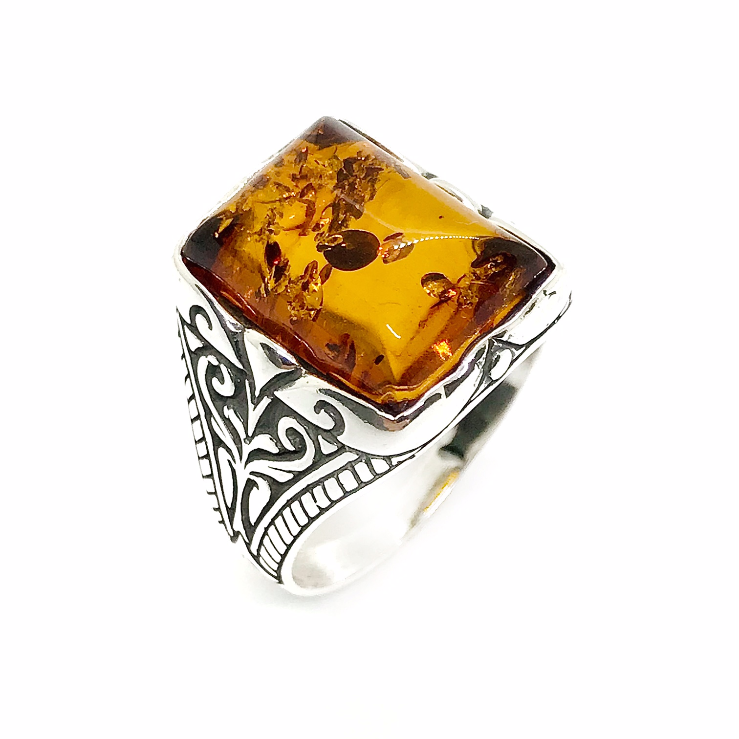 Cognac Amber Sterling Silver Men's Ring