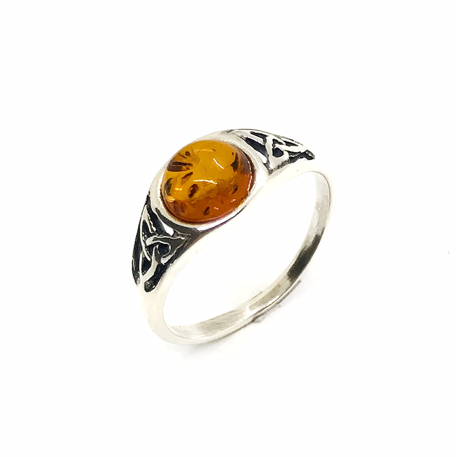 Cognac Amber .925 Silver Celtic Style Ring