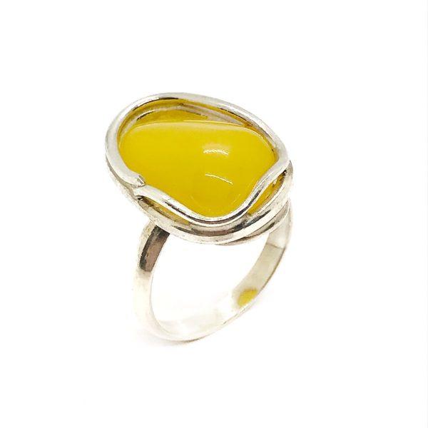 Butterscotch Amber Sterling Silver Handmade Ring