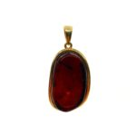 Cherry Amber Gold Plated Silver Pendant
