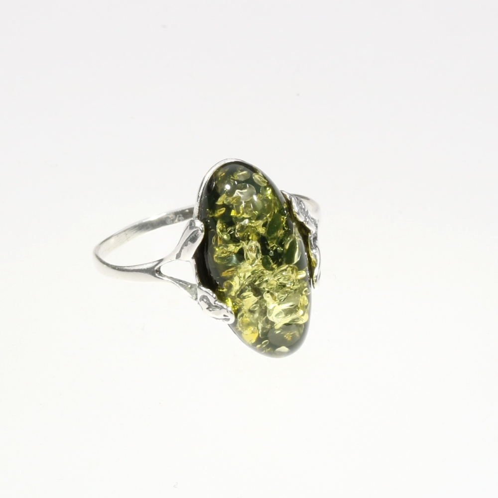 Green Amber Delicate Floral Silver Work Ring