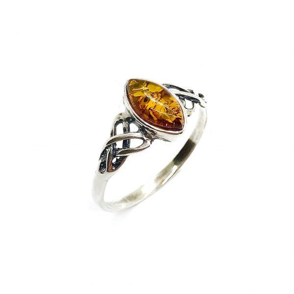 Cognac Amber .925 Silver Celtic Ring