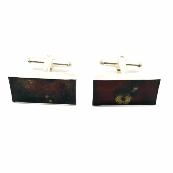 Cherry Amber Sterling Silver Cuff Links