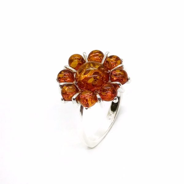 Cognac Amber Sterling Silver Flower Ring