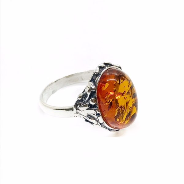 Cognac Amber Oxidized Silver Ring