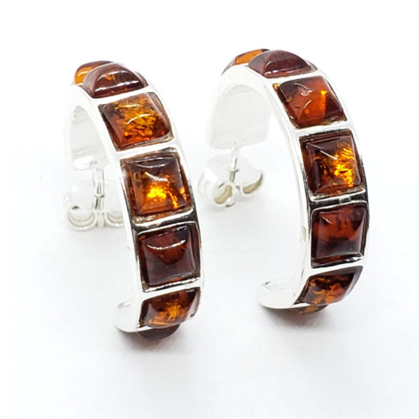 Cognac Amber Sterling Silver Hoop Earrings