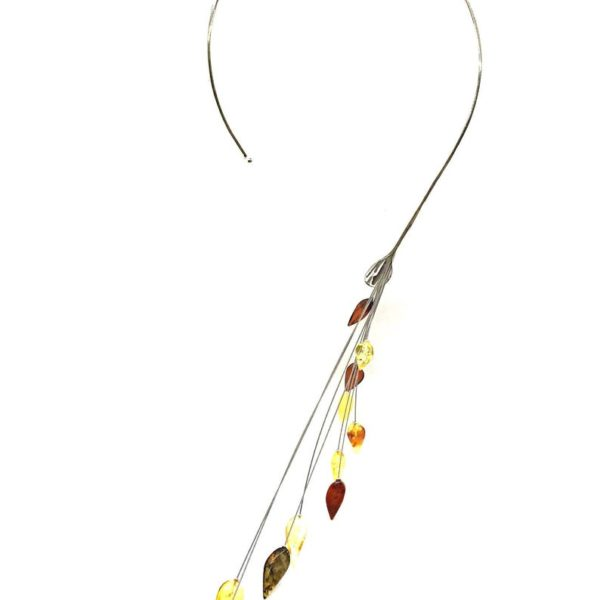 Multi Color Amber Sterling Silver Designer Necklace
