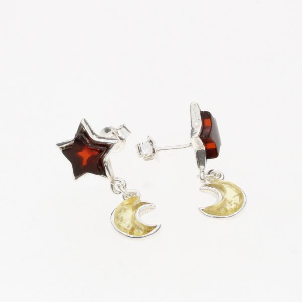 "Multi Color ""Star and Moon"" Post Dangle Earrings"