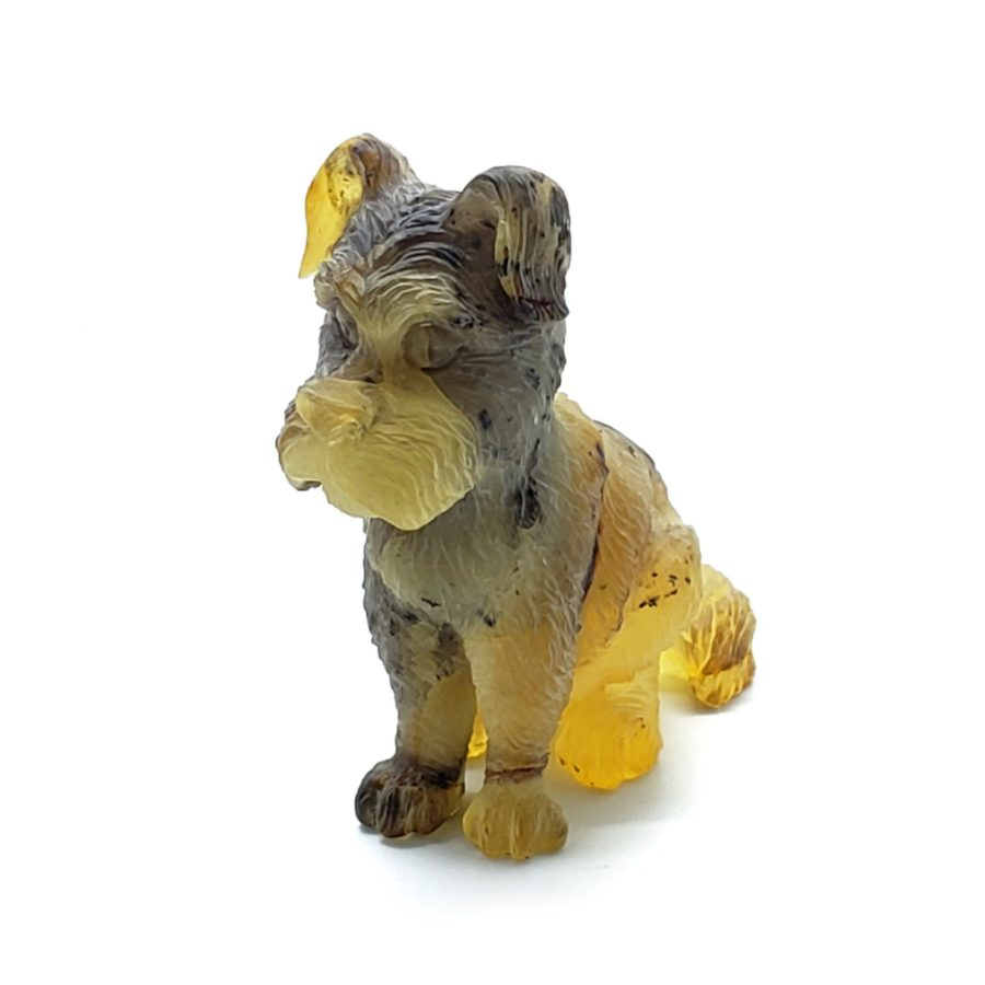Natural Amber Carved Dog