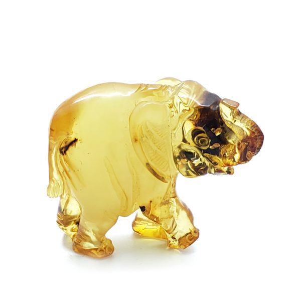Cognac Amber Carved Elephant