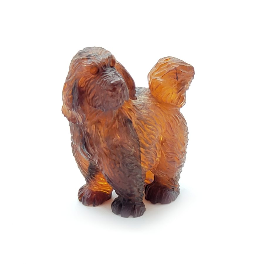 Cherry Amber Carved Dog