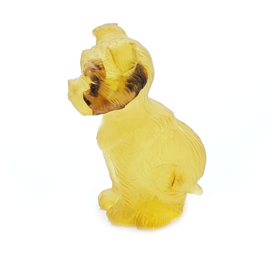 Citrine Color Amber Carved Dog