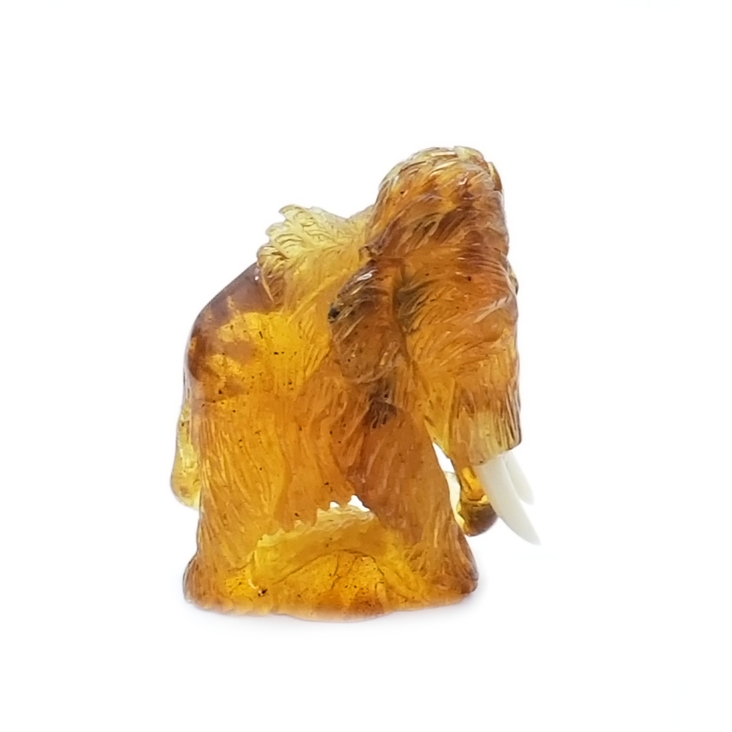 Cognac Amber Carved Mammoth