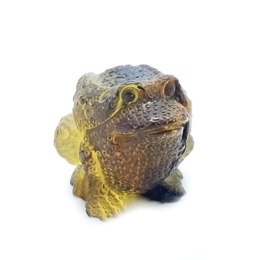 Natural Amber Carved Frog