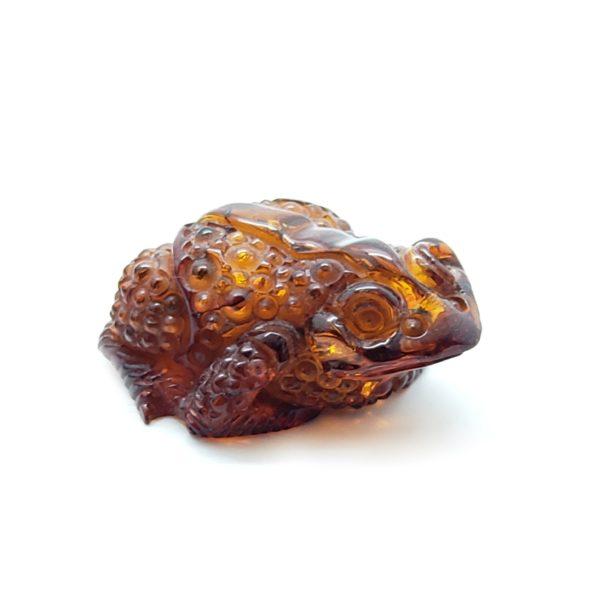 Cognac Amber Carved Frog