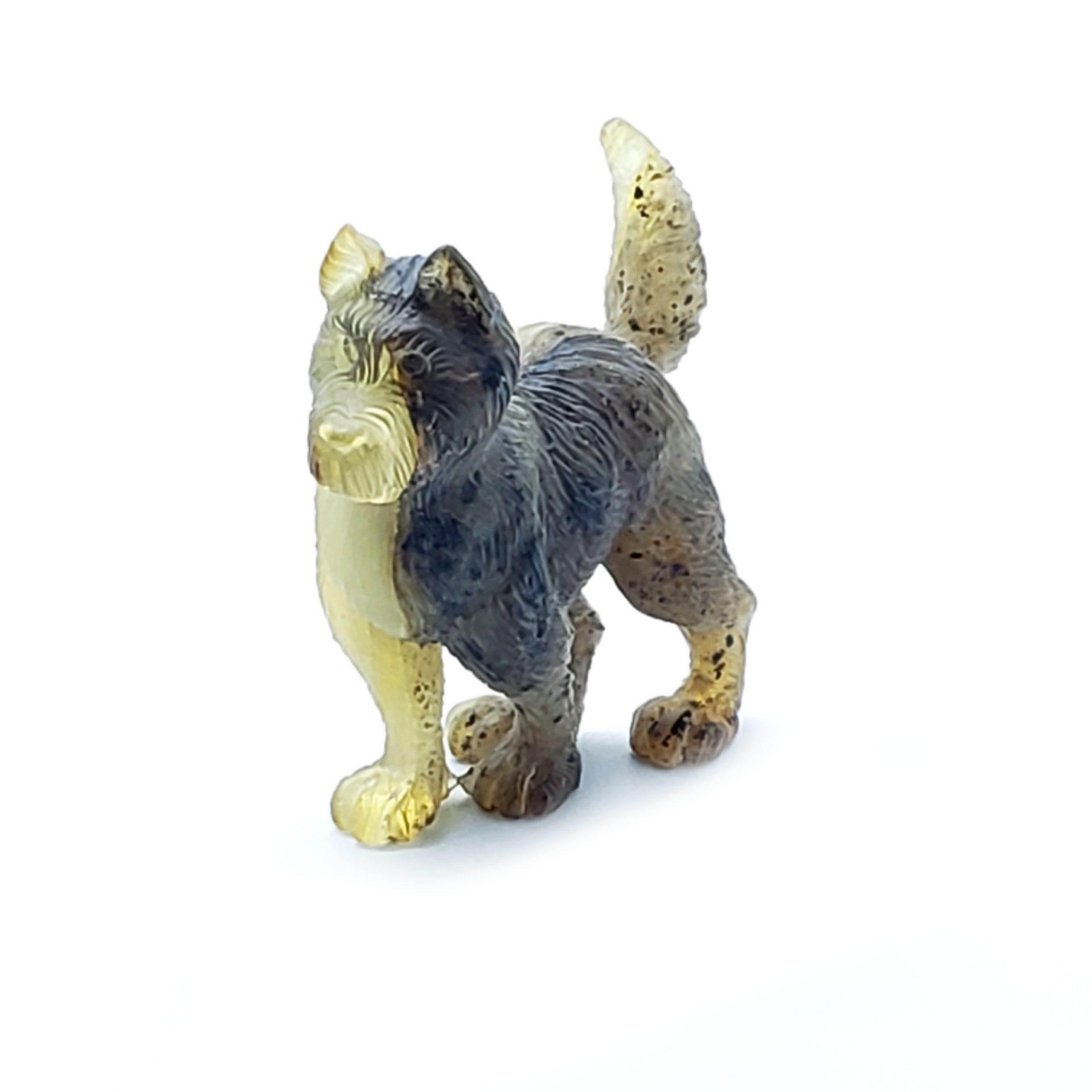 Natural Amber Carved Dog