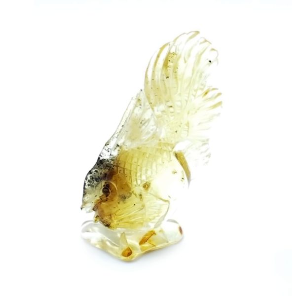 Citrine Color Amber Carved Goldfish