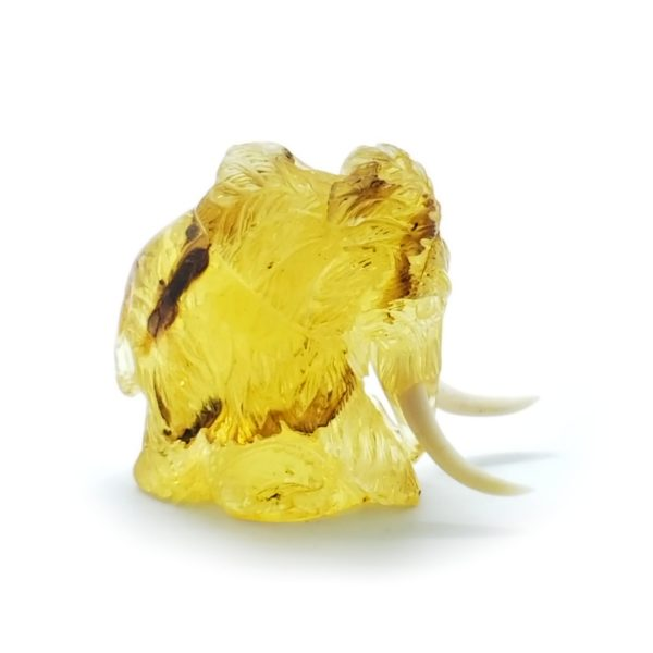 Citrine Color Amber Carved Mammoth