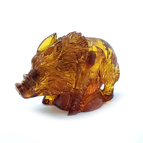 Cognac Color Amber Carved Boar