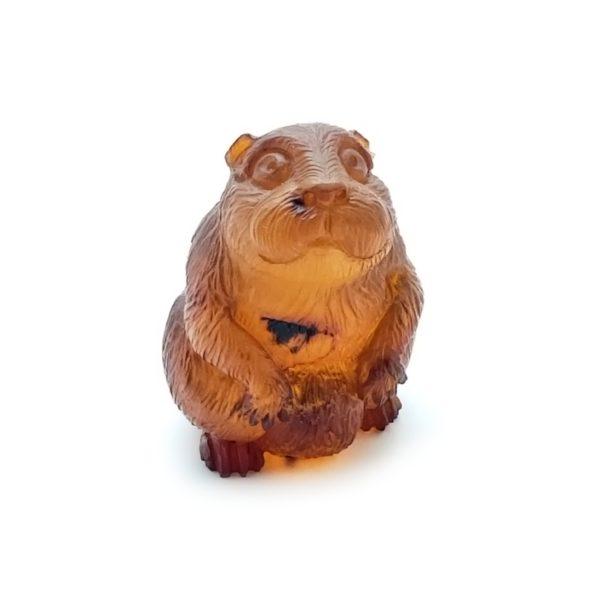 Cognac Amber Carved Otter