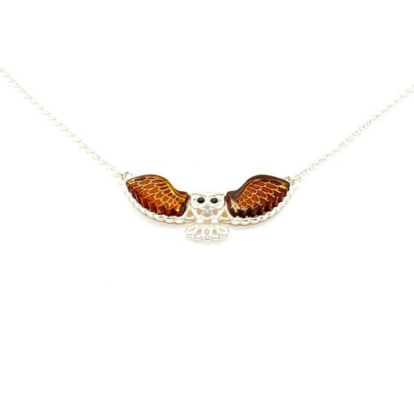 Cognac Amber .925 Silver Owl Cameo Necklace