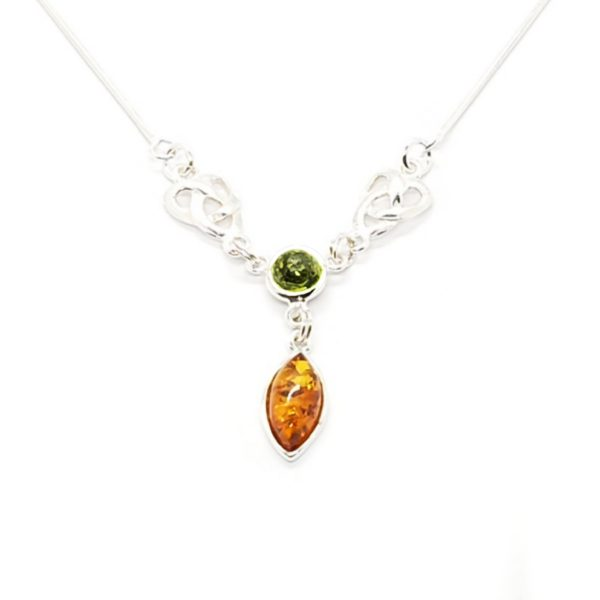 Multi Color Amber Sterling Silver Necklace
