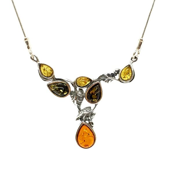 Multi Color Amber .925 Silver Leaf Design Necklace