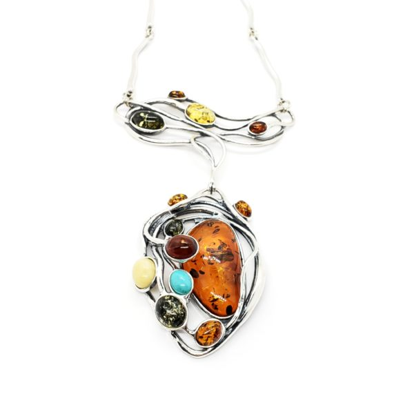 Multi Color Amber / Turquoise Art Nouveau Necklace