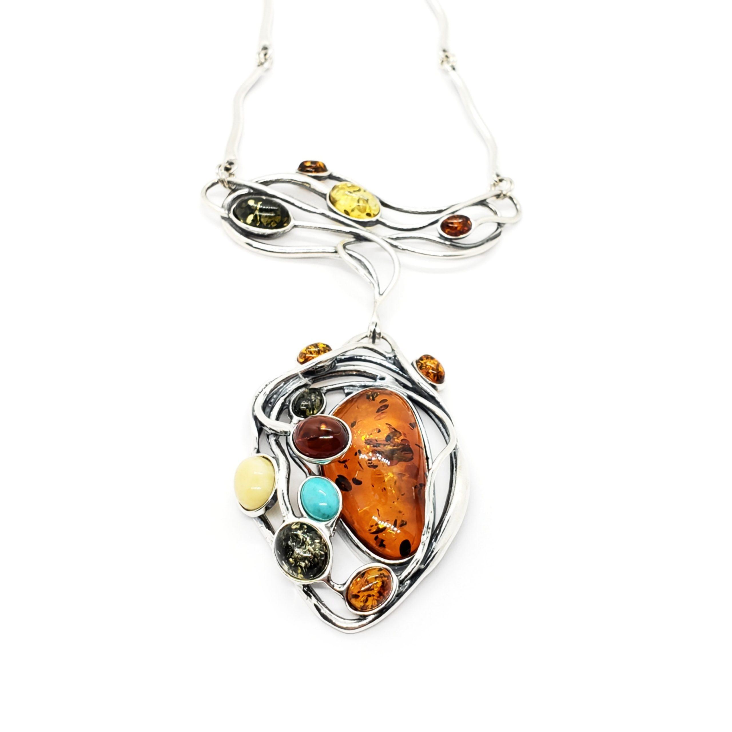 Multi Color Amber / Turquoise Art Nouveau Necklace
