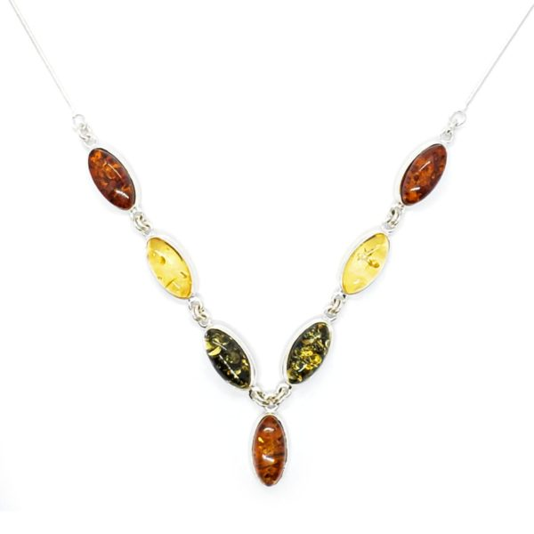 Multi Color Amber .925 Silver Seven Stone Necklace