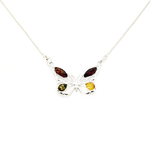 Multi Color Amber .925 Silver Butterfly Necklace