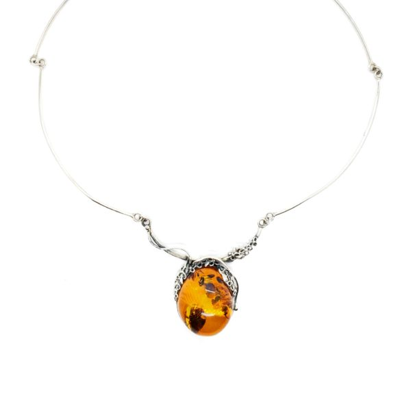 Cognac Amber Flower Design .925 Silver Necklace