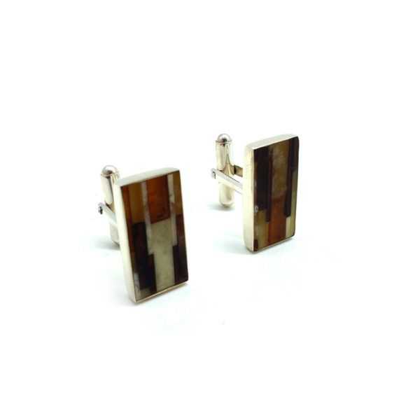 Mosaic Amber Sterling Silver Cuff Links
