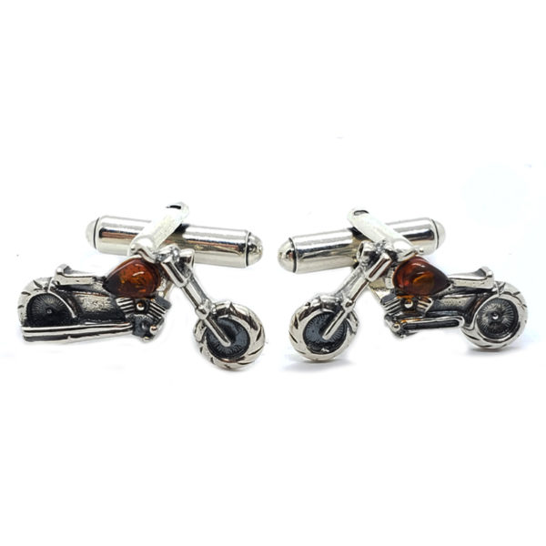 Cognac Amber .925 Silver Motorcycle Cuff Links
