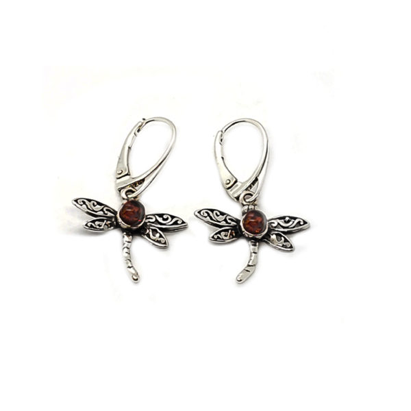 Cognac Amber Sterling Silver Dragonfly Earrings