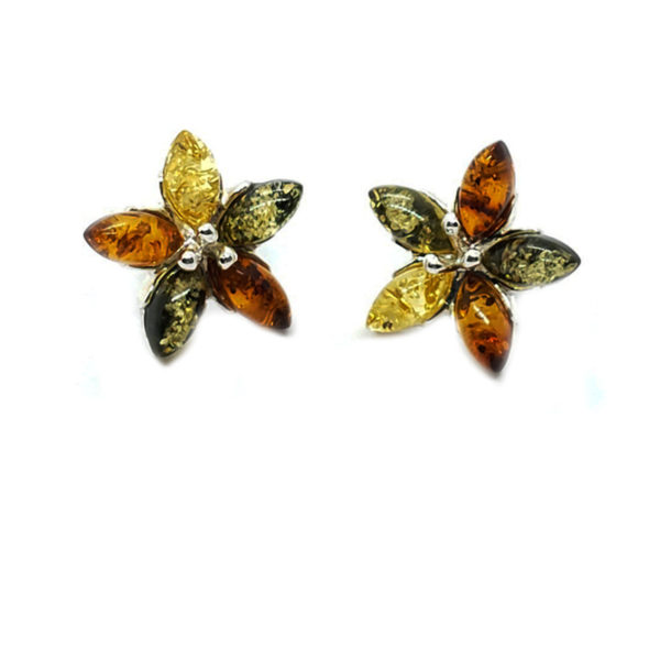 "Multi Color Amber .925 Silver ""Flower"" Stud Earrings"
