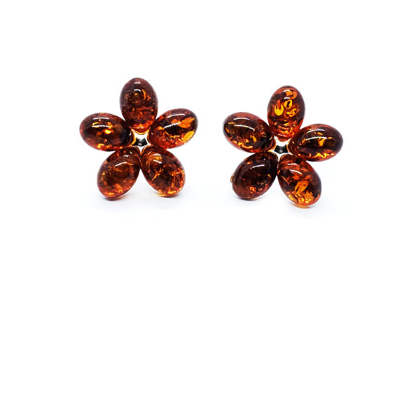 "Cognac Amber Sterling Silver ""Flower"" Stud Earrings"