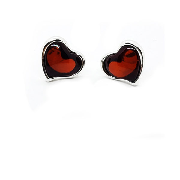 "Cherry Amber ""Heart"" Stud Earrings"